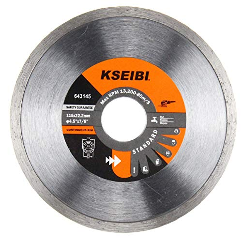 KSEIBI Premium Dry Cutting Continuous Rim Diamond Tile Saw Blade with 7/8 Inch Arbor for Tile Marble (4-1/2 Inch)