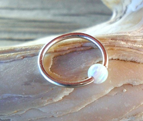 Captive White Fire Opal Bead Septum Upper Ear Daith Rook Tragus