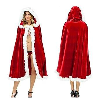 WSNH888 Traje De Papá Noel Rojo Mujer Capa con Capucha ...