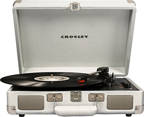 Crosley Cruiser Deluxe Vintage 3-Speed Bluetooth Suitcase Turntable, White Sand from Crosley