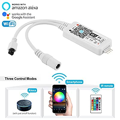 Nexlux WiFi Wireless LED Smart Controller Alexa Google Home IFTTT Compatible,Working with Android,IOS System, GRB,BGR, RGB LED Strip Lights DC 12V 24V(No power adapter included)
