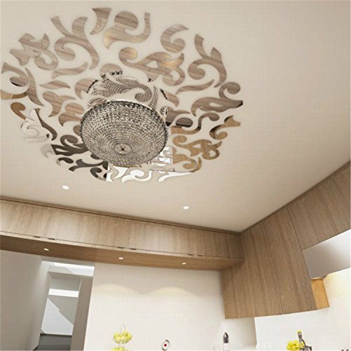 Yanqiao Removable Round Mirrors Wall Stickers Flower Leaves Pattern Living Room Bedroom Ceiling Home Decoration DIY Reflective Effect Acrylic Wall Decals 5.9×39.4″
