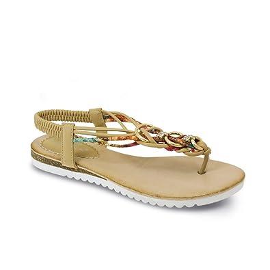 Lunar Himmel Damen T-Bar Sandale Mit Geflochtenen Vorne & Metallischen Ringen 4 Beige aQs69ZBN
