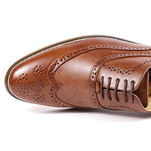 Metrocharm MC102 Men's Wing Tip Perforated Lace Up Oxford Dress Shoes (10, Brown)