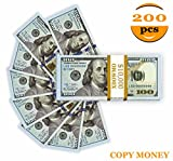 Prop Money,Copy Money Looks Real 200 Pcs Total 20,000 Dollar Props Double-Sided Printing for Movie