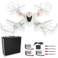MJX X400W FPV RC Drone with Wifi Camera Live Video 2.4GHz 4 Chanel 6 Axis Gyro Headless Mode One key return RTF Quadcopter in Portable Aluminum Carrying Case with Extra 3 batteries and Charger