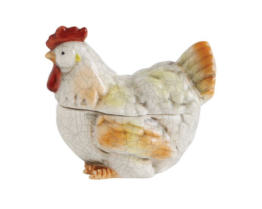 Creative Co-Op Distressed Stoneware Rooster Jar by Creative Co-op