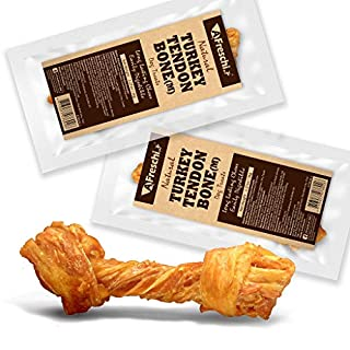 AFreschi Turkey Tendon for Dogs, Premium All-Natural, Hypoallergenic, Long-Lasting Dog Chew Treat, Easy to Digest, Alternative to Rawhide, Ingredient Sourced from USA, 2 Units/Pack Bone (Medium)