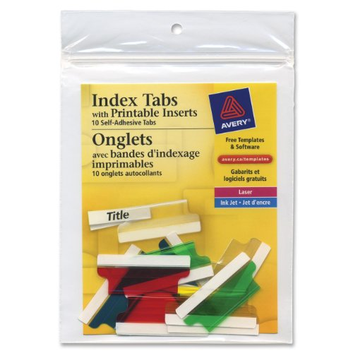 Printable Adhesive Hanging File Tabs (Avery Consumer Products Products - Self-Adhesive Tabs W/Laser Printable Inserts, 2amp;quot;L, Assorted - Sold as 1 PK - Precut plastic tabs with inserts can be typed, handwritten or laser printed. Feed 4amp;quot; x 10amp;quot; sheets through envelope feeder on printer, then separate individual tabs. Adhesive is permanent. Avery offers many easy-to-use templates for Microsoft Word and other popular software programs. Each index tab offers a 1/3amp;quot; tab extension.)