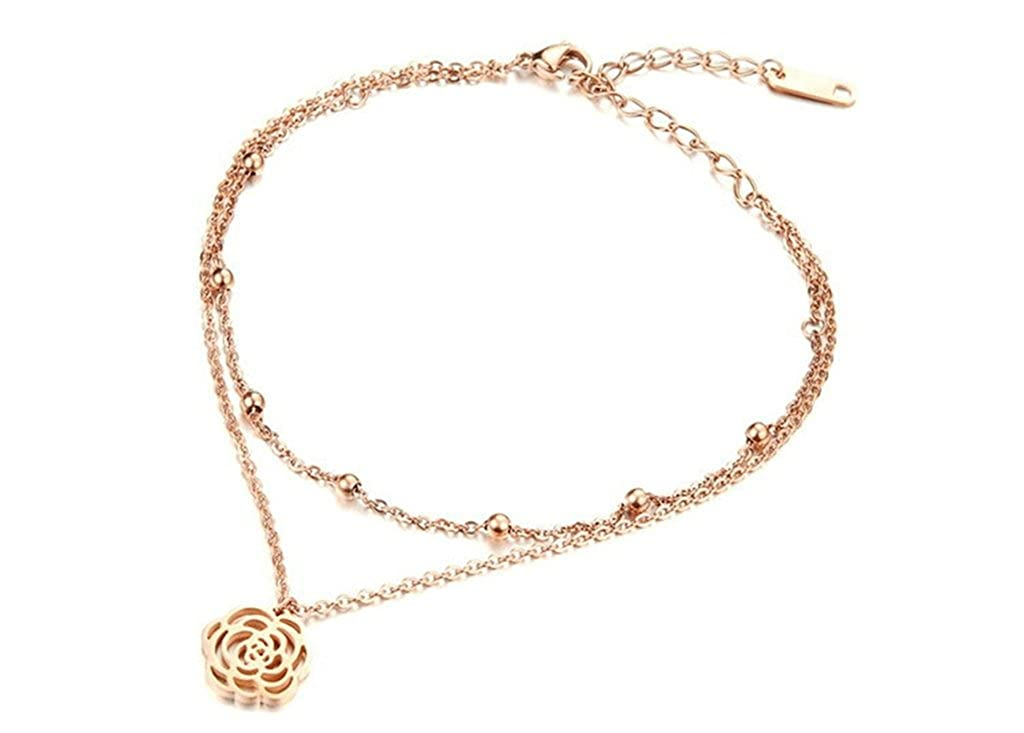 Epinki Jewelry Silver Plated Women Anklet Pendant Bell Questionnaire Flower Sandal Beach Foot Chain