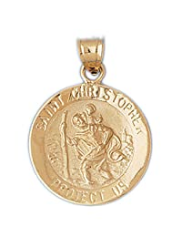 14K Yellow Gold Saint Christopher Pendant Necklace - 34 mm
