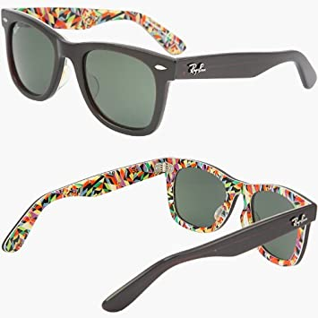 96431ce996515 RAY BAN WAYFARER BLACK WITH FLORAL INLAY RB2140 1020 CRYSTAL GREEN LENS  50MM MEDIUM FRAME SIZE RARE PRINT SPECIAL SERIES LIMITED EDITION PRINT  ...