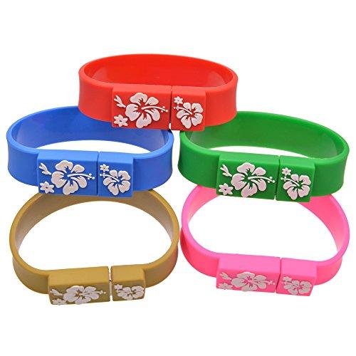(Uflatek 1 GB USB Flash Drive 5 Pack Silicone Memory Stick Bracelet Design USB 2.0 Thumb Drives Wristband Pen Drive Multicoloured Jump Drive - Red/Blue/Green/Brown/Pink)