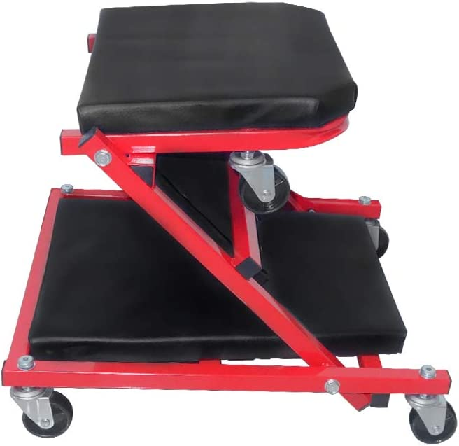 wolketon 2 en 1 Chariot de Visite M/écanicien Table de Montage m/étallique Robuste,150 kg Tabouret datelier pour Voiture Plate-Forme Mobile /à 6 Roues avec capacit/é de Rotation /à 360/° Max.
