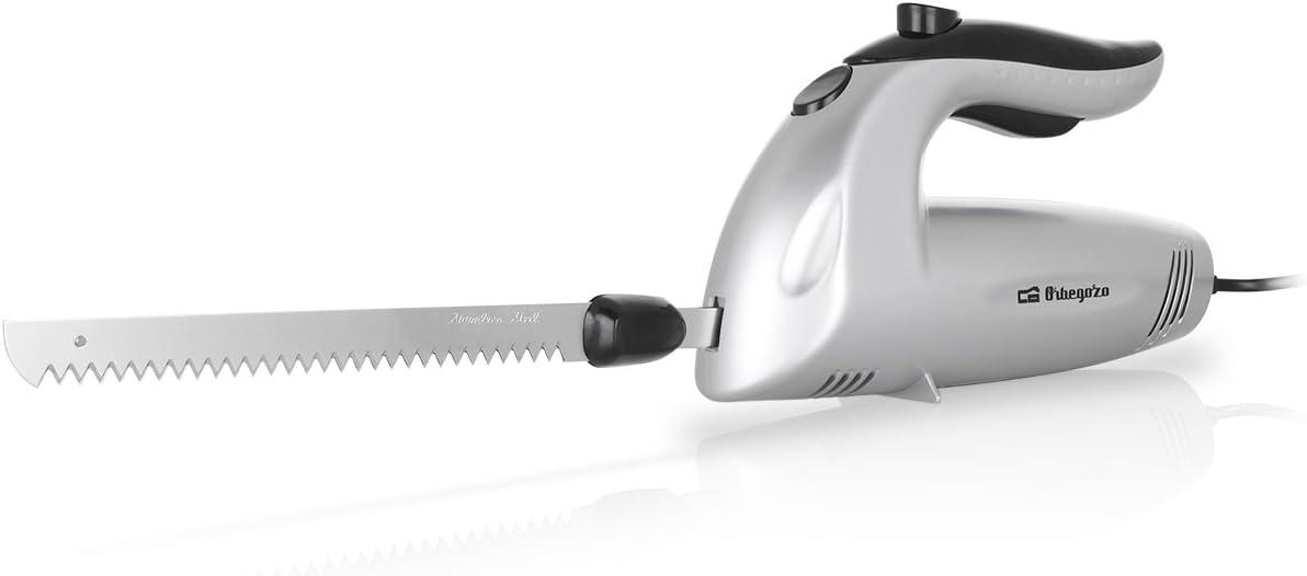 Orbegozo CU 3800 Cuchillo Eléctrico, 150 W, Cuchillo Doble Dentado INOX, Interruptor de Seguridad, Cuchilla Congelados