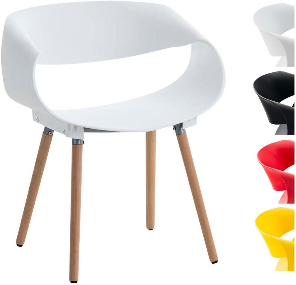 CLP Retrostuhl Tuva mit Kunststoffsitzschale und Gestell aus Buchenholz Design-Kunststoffstuhl max belastbar bis 150 kg erh/ältlich Schwarz