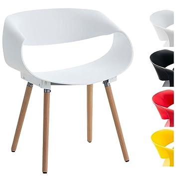 CLP Silla de Visita Tuva I Silla Retro con Asiento de Plástico & Soporte de Madera   Silla de Comedor con Diseño Moderno   Color Blanco