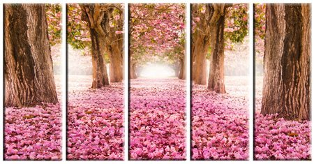5 Piece Large Framed Split Cherry Tree Blossom Spring Pink Flowers Panel Canvas Painting Picture Pic Artwork Print Wall Art Decor Posters for Home Decor - 12