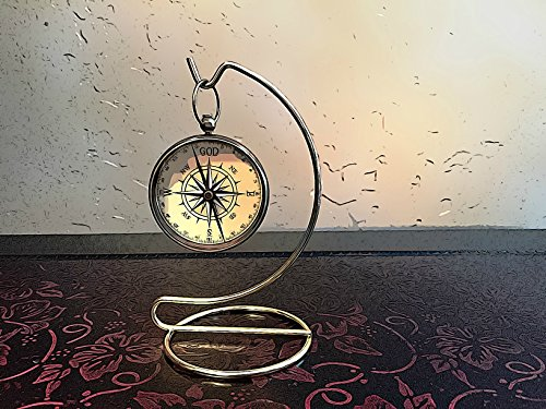 God is My Guide Compass with Display Stand Unique | Uplifting | Heavenly gift of faith.