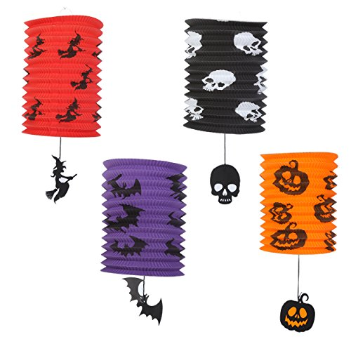 Halloween Party Decorations - Set of 4 - Decorative Paper Lanterns - Ghost Bats Spider Pumpkins Hanging Pendant for Parties, Home Decor, School Events -