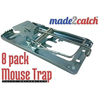 made2catch Classic Metal Mouse Trap Fully Galvanized - 8 traps - Snap Trap for Mice - Mouse and Small Rodent Control - Humane Mouse Traps that Work
