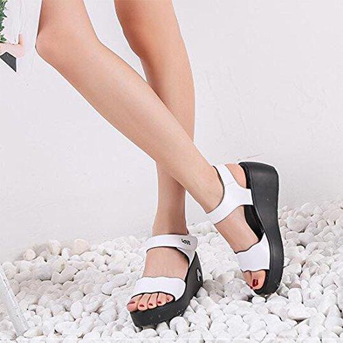 Moda Sandali Estivi Casual White Alla Da ZHONGST Sandali Donna wPU00I