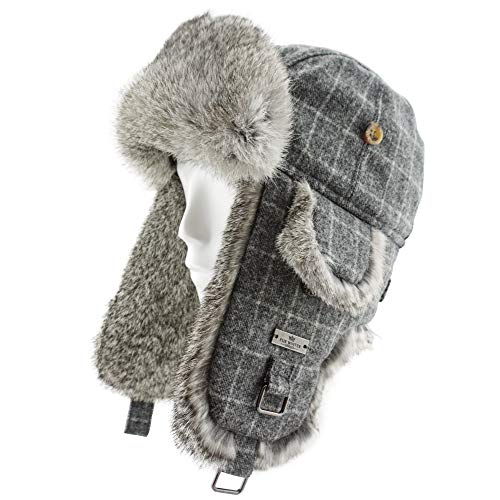 Rabbit Fur Trooper Hat - FUR WINTER Wool Blend Diamond Check Plaid Rabbit Fur Aviator Bomber Trapper Trooper Hat GRY S/M