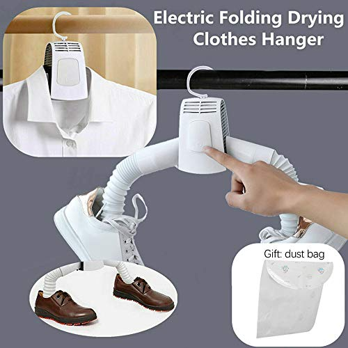 ⭐ Futurelove ⭐ Portable Mini Clothes Dryer Fast Drying Cloth Suit Hanger Dryer, Household Travel Portable Dryer Electric Folding Clothes Shoes Drying Hanger Dryer Rack Machine (1PC + Shoes dryer tube)