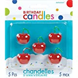 """Party Time Molded Cherries Birthday Candles, Pack of 5, Red , 1"""" Wax"""