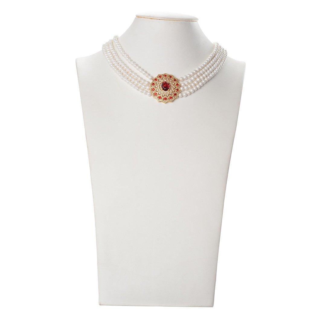 Romantic Time Ruby Accessory Rhinestone Lock White Pearl 4 Strand Beads Jewelry