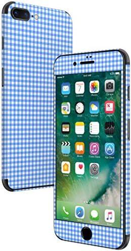 igsticker iPhone SE 2020 iPhone8 iPhone7 専用 スキンシール 全面スキンシール フル 背面 側面 正面 液晶 ステッカー 保護シール 008091 チェック・ボーダー 青 ブルー チェック 模様