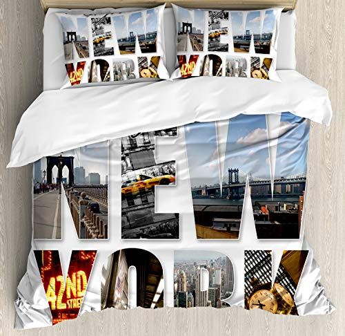 Ambesonne NYC Decor Duvet Cover Set, New York City Themed Collage Featuring with Different Areas of The Big Apple In Manhattan Scenery Picture, 3 Piece Bedding Set with Pillow Shams, Queen/Full, Multi