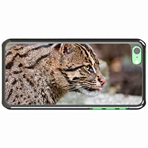 iPhone 5C Black Hardshell Case fishing muzzle tongue profile spotted big cat Desin Images Protector Back Cover