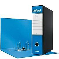 Esselte 390785800 Raccoglitore Oxford con meccanismo a leva e con custodia, Formato Protocollo, Cartone, Dorso 8 cm, Azzurro