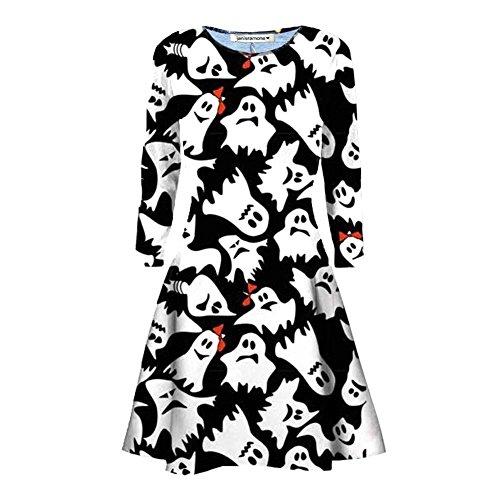 Halloween Fantasma Le Costume Janisramone Fancy Stampare Nuovo Mini Bianca Smock Stampare signore Zucca Swing Cranio Nero Web Svasati Donne pattinatore Vestito H5q5O