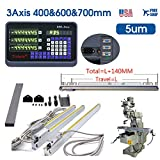 16'' 28'' 24'' 3 Axis Digital Readout Dro Display Meter for Bridgeport Milling Lathe Machine, (400mm+700mm+600mm), US Stock