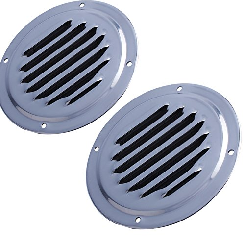 """Hoffen 4"""" Stainless Steel Round Louvered Vent Marine Boat Vent 100mm Caravan Vent X2"""