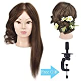 Ba Sha Mannequin Head,18 Inches Long with 100% Human Hair Hairdresser Training Head Manikin Cosmetology Doll Head With Free Table Clamp