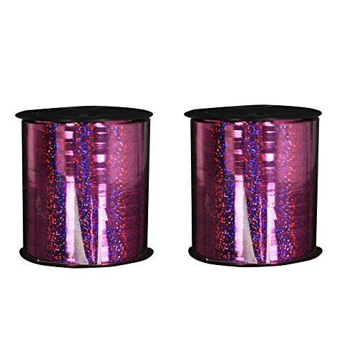 2 PCS Holographic Curling Ribbon Roll Balloon Ribbons for Party, Festival, Florist, Crafts and Gift Wrapping,250 Yard/PCS (Rose) (Holographic Curling Ribbon)