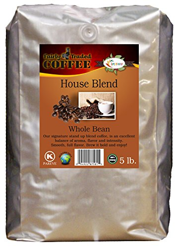 House Blend Whole Bean Coffee 5lb. - Fairly Traded, Naturally Shade Grown, Kosher Certified