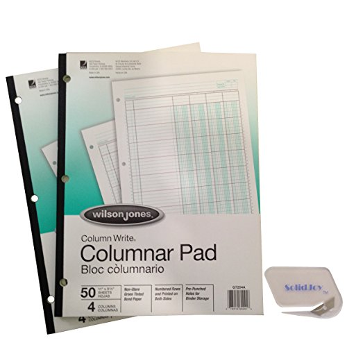 2 Pack - Wilson Jones ColumnWrite Columnar Pads (WG7204A), 11 x 8.5 Inch, 41 Lines per Page, 4 Columns, 50 Sheets a Pad Includes SolidJoy Letter Opener