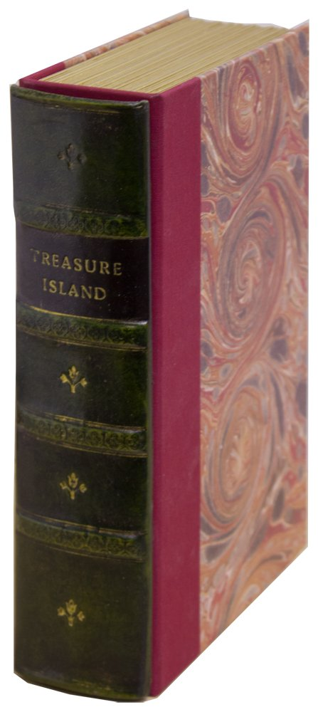 Original Book Works EO411G Reproduction Antiqued Faux Leather Hidden Book Safe, ''TREASURE ISLAND'', Green