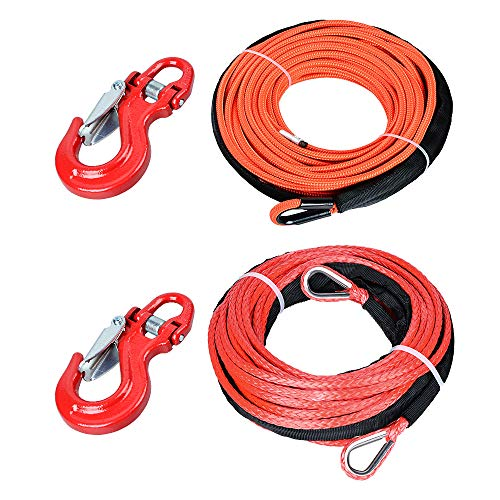 (Astra Depot Orange Synthetic Winch Rope 50'x1/4