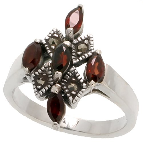 - Sterling Silver Marcasite Cross Ring, w/ Natural Garnet, 1 inch (25 mm) wide, size 9