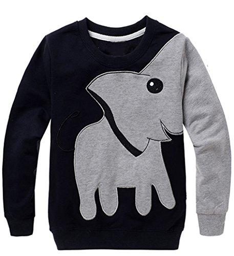 HEYFAIR Women Girls Cute Elephant Crew Neck Pullover Thick Shirt Sweatshirt (L)