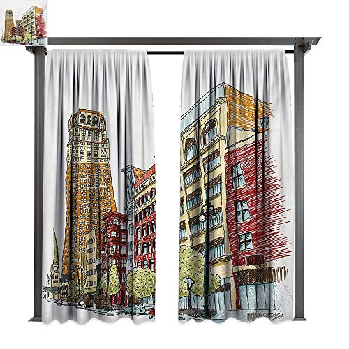 (bybyhome Drape for Pergola Curtain Detroit Buildings on Woodward Avenue in The Downtown Detroit Artistic Sketchy Urban Scene W72 xL108 Suitable for Front Porch,pergola,Cabana,Covered)