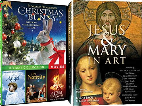 Family Christian Christmas Films - The Christmas Bunny, The Littlest Angel, The Nativity, A Child is Born & Jesus and Mary in Art DVD Bundle