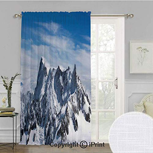 - Farmhouse Decor Extra Wide Chiffon Sheer curtain,Picturesque Mont Blanc Cliff to Cloud Idyllic Environment Trekking Landmark,for Large Window/Sliding Glass Door/Patio Door,100x84inch,White Blue
