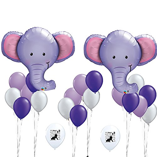 Elephant Balloons, baby shower decorations, elephant shower decoration, nursery decoration, purple grey elephant banner, elephant birthday deco - Baby Shower Deco