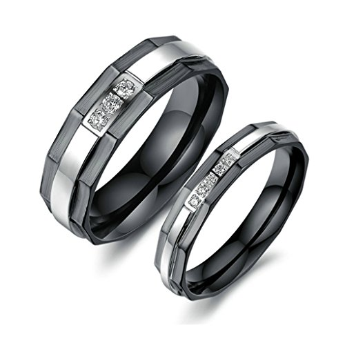 His And Her Costumes 2016 (Bishilin Stainless Steel Cubic Zirconia His and Hers Matching Set Wedding Band Engagement Rings Women Size 6 & Men Size 8)